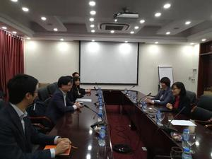 Photo taken during the private meeting with VNU's Associate Dean of Research, Dr. Nguyen Cam Huang and Vice Rector of Faculty of Economics and Business, Dr. Nguyen Anh Thu(Photo:College of Commerce)